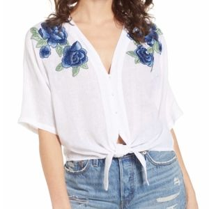 Rails Thea Embroidered Tie Front Top Large